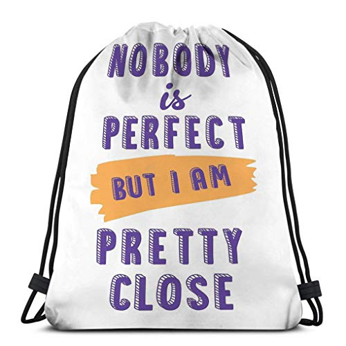 Drawstring Backpacks Bags for Gym Home Travel Exercise illustration cute cartoon lettering nobody perfect i pretty close cute cartoon