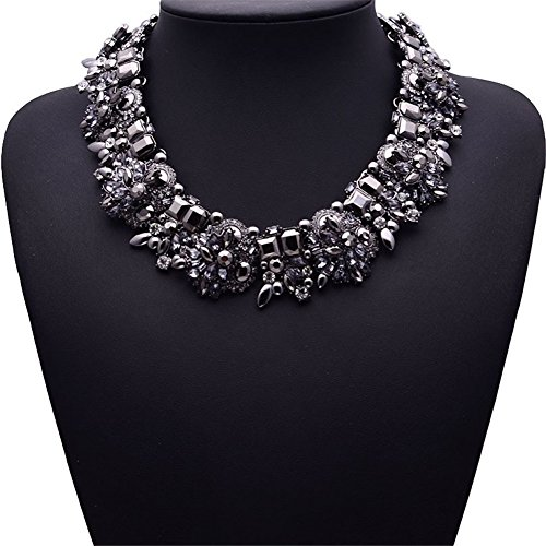 NABROJ Women Bib Necklace, Vintage Statement Necklace for Women Novelty Jewelry 1 PC Black with Gift Box-HLN001 Black