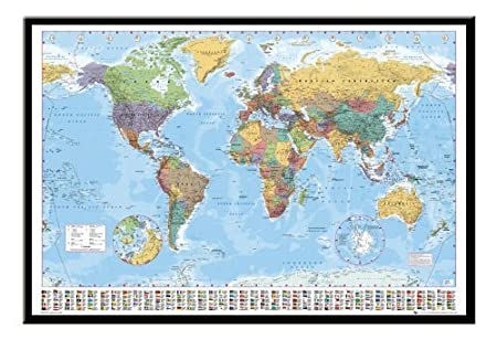 world map pin board framed in black wood includes 100 pins 965 x 66 cms