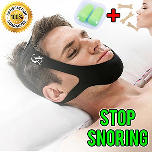 Anti Snoring Chin Strap Complete Package (Best Chin Strap): Comfortable, High Quality, Instant Relief, Adjustable Size, for Men and for Women