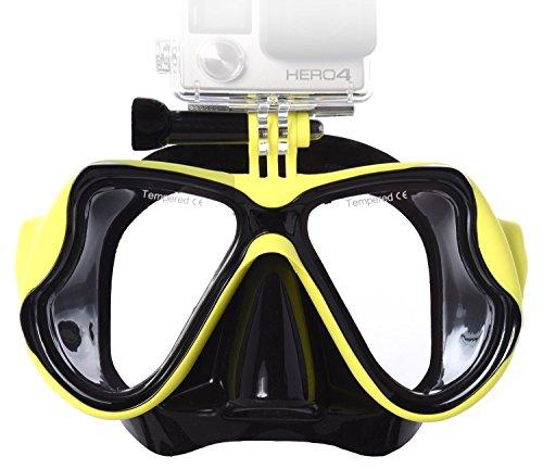 Lyhoon Tauchmaske Taucherbrille für Aktionssportkamera Kompatibel mit GoPro/Xiaomi yi/SJ4000 für schwimmen und tauchen (Gelb, Erwachsene)
