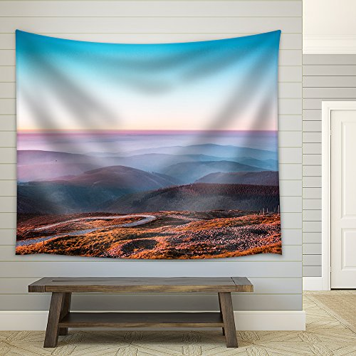 Landscape with Mountain at Dusk Fabric Wall