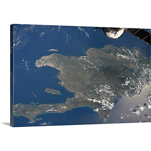 A View of The Caribbean Island of Hispaniola from The International Space Station Canvas Wall A. (View Of Earth From International Space Station)
