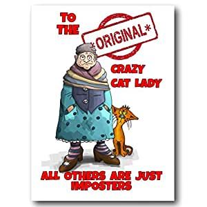 Crazy Cat Lady Card, divertida tarjeta de felicitación ...