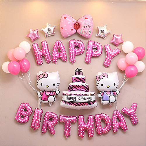 Hello Kitty Supplies (Hello Kitty birthday decoration party set Kitty cute pink girl children happy birthday balloon bow star pump 24 pieces)