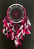 Large Dream Catcher Traditional Tie Dye Colors Pink & White Feathers – 8.5″ Diameter & 28″ Long – OMA BRAND (Pink)