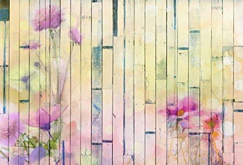 Baocicco ピンクフローラルパターン 木製バックドロップ 8 x 6フィート ビニール写真 背景 シャビー竹 木製 板紙 フード服 ペット製品 写真 肖像画 子供 大人 芸術的 スタジオ小道具   B07HLXXLL2