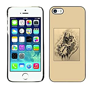 Impact Case Cover with Art Pattern Designs FOR iPhone 5 / 5S Skull Death Time Rock Metal Black Art Betty shop