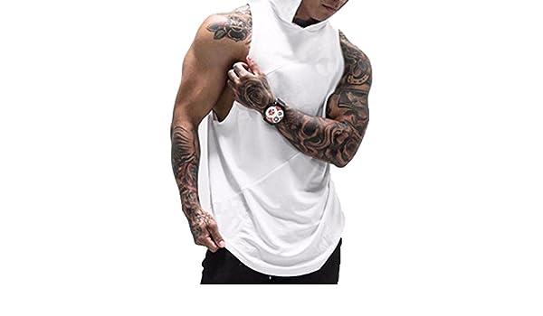 XL, Blanco Caidi Chaleco para Hombres Deportivo Camiseta Sin Mangas de Tirante Sudadera con Capucha Gimnasio M/úsculo Formaci/ón T/única Tank Top