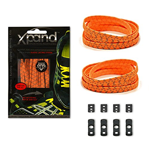 Xpand No Tie Shoelaces System with Reflective Elastic Laces - Neon Orange - One Size Fits All Adult and Kids Shoes