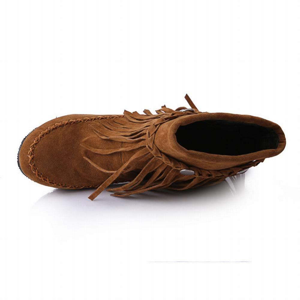 WSR Stiefel Stiefel Stiefel Für Frauen, Flache Stiefeletten, Rutschfeste Schneestiefel Martin Stiefel, Halten Fransen Stiefeletten,Braun,38 2cf759