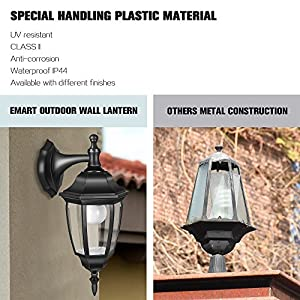 EMART Outdoor Porch Light LED Exterior Wall Light Fixtures, Special Handling Anti-corrosion Durable Plastic Material, Waterproof Security Lamp for Wall, Garage, Front Porch - 2 Pack