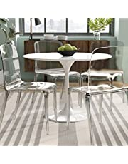 Take Me Home Furniture Jazmin Stylish White Round Dining Table with Tulip Base, MDF Dining Table with Aluminium Base, 32 in