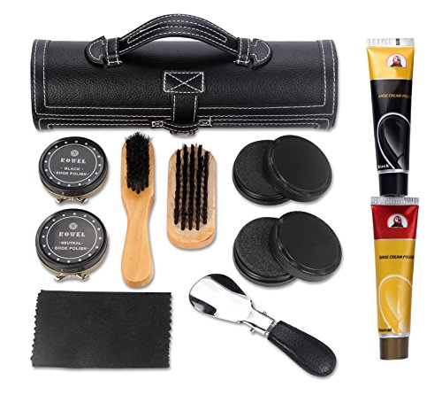 11 in 1 Travel Shoe Shine Kit with PU Leather Sleek Elegant Case Black by TOCGAMT (Image #6)