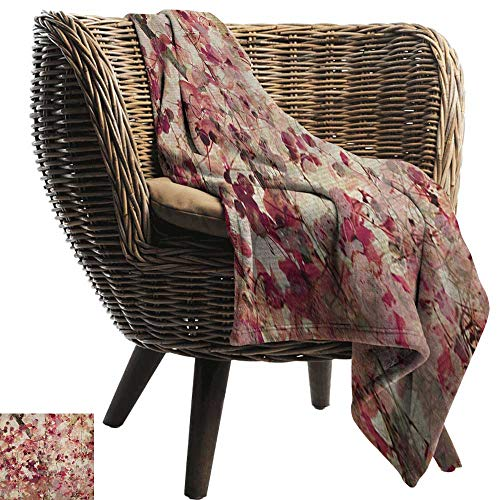 warmfamily Home Throw Blanket Antique Grungy Effect Cherry Blossoms on Ribbed Bamboo Retro Background Floral Art Work Traveling,Hiking,Camping,Full Queen,TV,Cabin30 Wx50 L