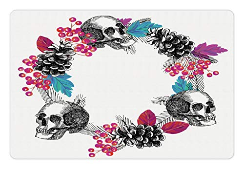 Lunarable Halloween Pet Mat for Food and Water, Skulls Wreath with Flowers Berry Branch Rowanberry Leaf Conifer, Rectangle Non-Slip Rubber Mat for Dogs and Cats, Charcoal Grey and Multicolor]()