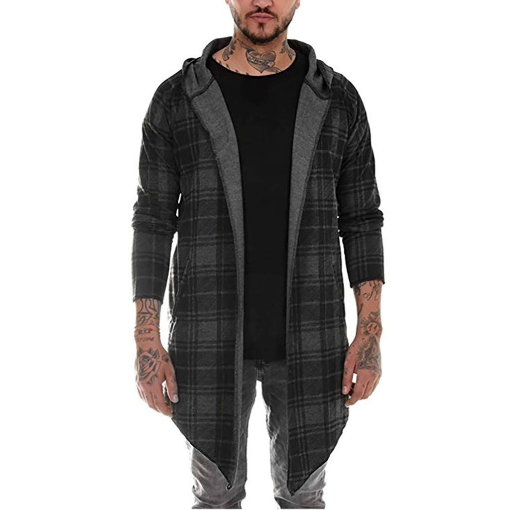 Funnygals - Mens Long Cardigan Open Front Draped Lightweight Hooded Sweater Plaid Checked Long Drape Cape Coat Jackets Dark Grey by Funnygals - Clothing