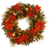 National Tree 36 Inch Decorative Collection Home Spun Wreath with 100 Clear Lights (DC13-111L-36W)