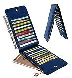 YALUXE Women's RFID Blocking Genuine Leather Multi Card Organizer Wallet with Zipper Pocket RFID Blocking Blue