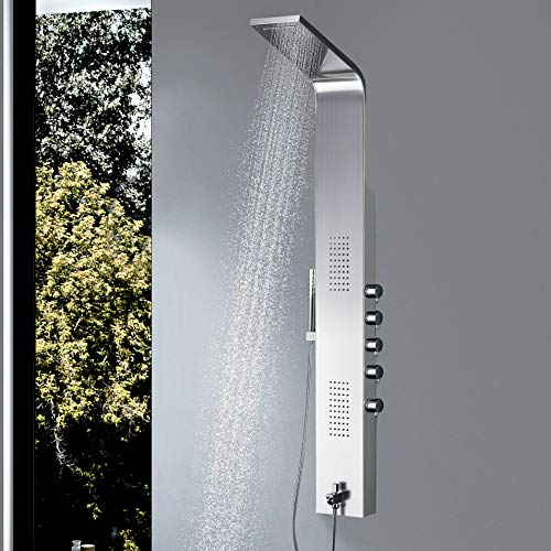(Vantory Shower Panel #304 Stainless Steel Wall Mount Multi-Function Tower Massage Systerm With Body Jets Tub Spout Rainfall Waterfall Showerhead)