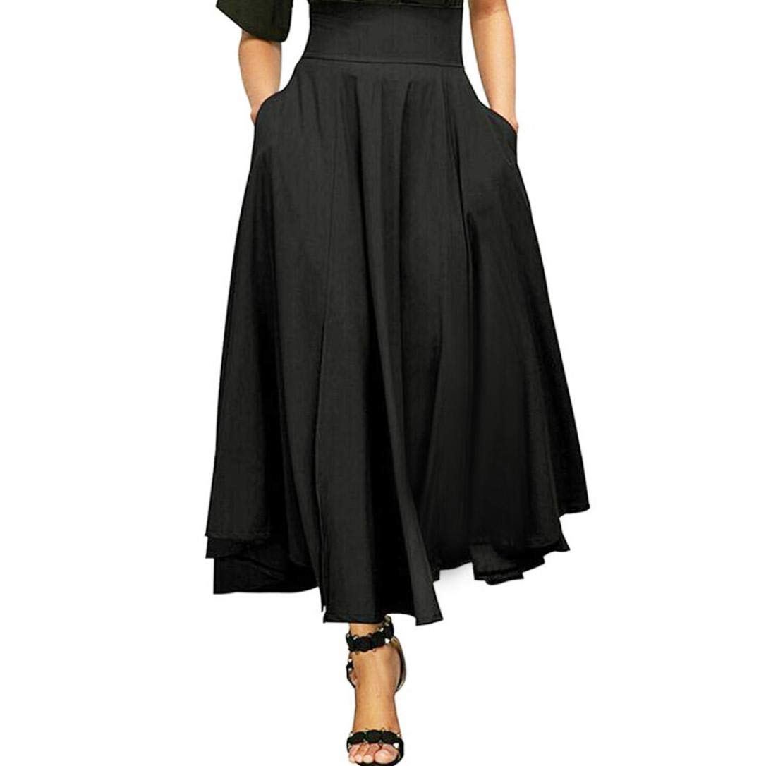 Women Maxi Skirt-High Waist Pleated A-Line Long Skirt Front Slit Belted Skirt (S-XXL) by Jinjin (Image #2)
