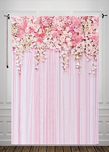 Pink Flowers Backdrop Photography Background Wedding Background Floral Photography Backdrops Dessert Table Decor Birthday Banner Backdrop 5x6.5Feet D-9354