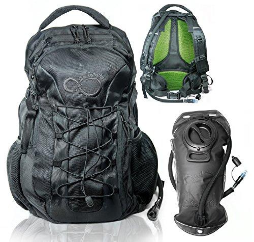 (Live Infinitely Hydration Backpack 3.0L TPU Leak Proof Water Bladder- 720D Polyester -Adjustable Padded Shoulder, Chest & Waist Straps- Silicon Bite Tip & Shut Off Valve- (Large 3L All Black))