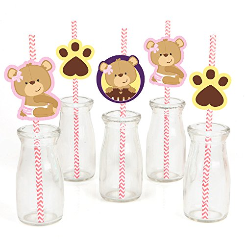Big Dot of Happiness Baby Girl Teddy Bear Paper Straw Decor - Baby Shower Striped Decorative Straws - Set of 24 (Teddy Die Bear)