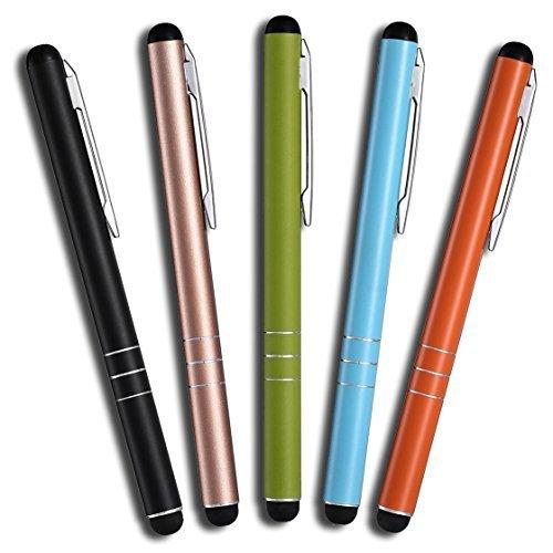 Mobilinyi 5 Stück Premium Eingabestift Touchstift Stylus für iphone 6 5 4 4s, ipad 4 3 Mini, Samsung Galaxy und alle Tablets Smartphones, Farbe: schwarz gold grün blau orange