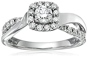 IGI Certified 14k White Gold Diamond Halo Engagement Ring (3/4 cttw, H-I Color, I1-I2 Clarity), Size 6