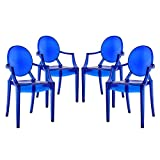 Modway Casper Modern Acrylic Dining Armchairs in Blue - Set of 4