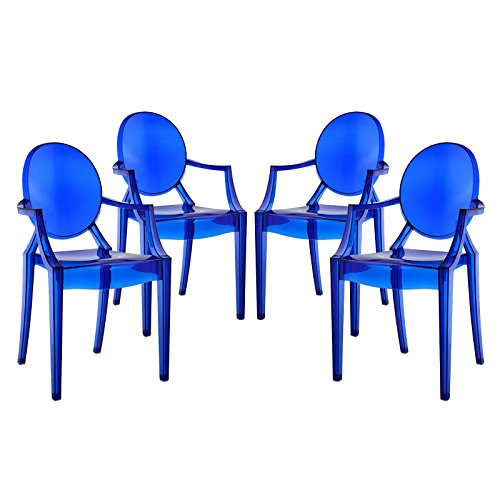 Modway Casper Modern Acrylic Dining Armchairs in Blue - Set of 4 (Dining Wholesale Room Chairs)