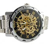 YouYouPifa Skeleton Dial Stainless Steel Strap Automatic Self-Wind Mechanical Men's Watch (Black & Gold)