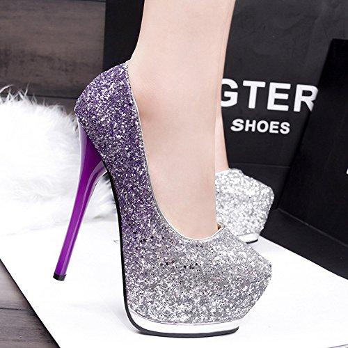 de alto de punta Sandalias hechizo Zapatos alto tacón Verano tela Mujer Otoño gradiente de de tacón estupendo Tacones de brillante GAOLIXIA de finos Púrpura Sandalias Zapatos mixtas Color Primavera A8YEq5wx