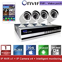 LightInTheBox SINOCAM 4CH 4 Channel NVR and 720P P2P IP Camera Security System Kit Support Video Push P2P DDNS Waterproof