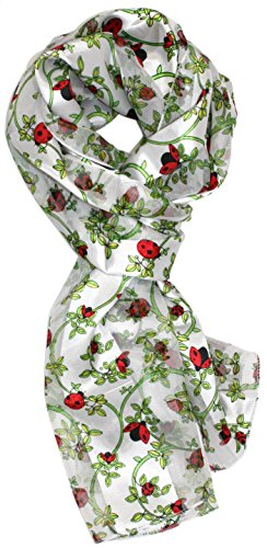 Ted and Jack - Spring Garden Helper Print Silk Feel Scarf in White Ladybug by Ted and Jack (Image #3)