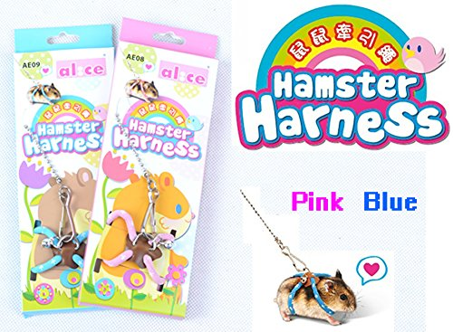 - Adjustable Harness Leash Hamster Rat Mouse Squirrel Sugar Glider Small Animal (Pink)