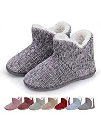 Women Warm Bootie Slippers Fluffy Plush Indoor Outdoor Winter Booty Slippers