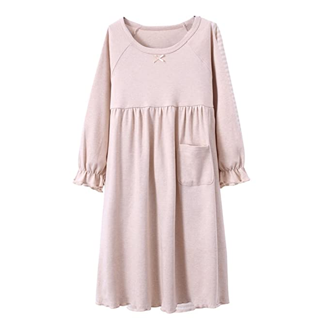 1c3e19206b Amazon.com  Zhuhaitf Girls Home Long sleeves Sleep Skirt Kids Stripe  Princess Dress Pajamas  Clothing