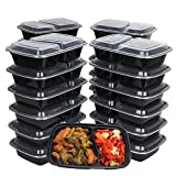 {50 PACK} 50 Meal Prep Containers for meal prepping 2 Compartment with 50 Lids - 28 oz.- Microwavable Plastic containers Food Storage containers Reusable Lunch Boxes - Freezer & Dishwasher Safe