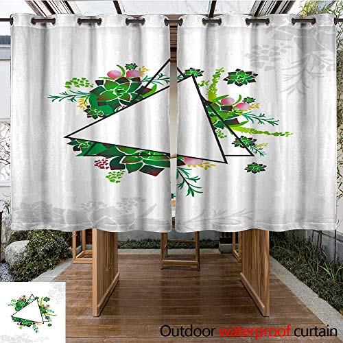 Outdoor Ultraviolet Protective Curtains Modern Floral Frame with Triangle in Center W63 x L72 -