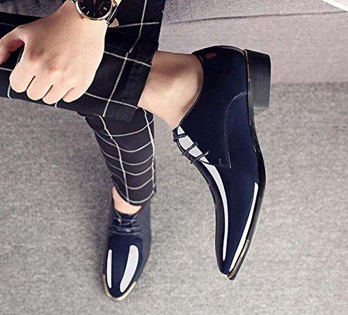 Zapatos de Boda MYI Negocios de Zapatos Zapatos Zapatos de de Brillantes Cuero de Hombre Vestir Primavera de a Blue Rayas Transpirables Británicos Zapatos 77vrO