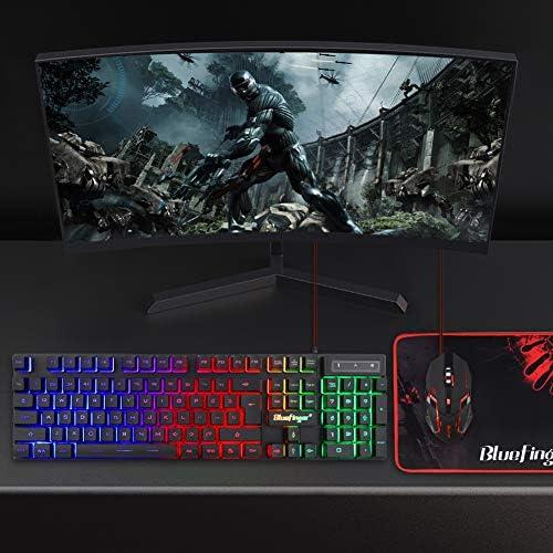 BlueFinger RGB Gaming teclado y mouse retroiluminado, teclado USB con cable retroiluminado, juego de teclado LED para juegos para computadora portátil, juego de computadora y trabajo 4