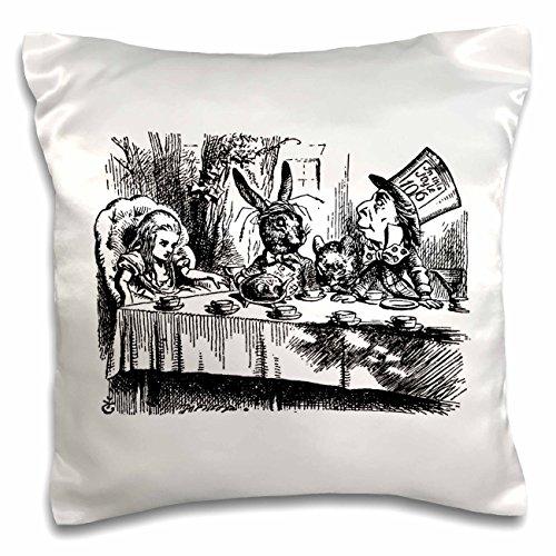 3D Rose Follow The White Rabbit Alice in Wonderland John Tenniel Illustration Pillow Case, 16