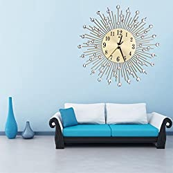 DDLBiz Decorative Starburst Modern Wall Clock For Home Office Living Room Docor (Gold)