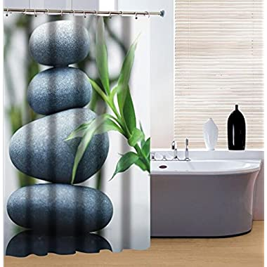 Dodou 72-Inch-by-72-Inch Stones Bamboo Shower Curtain