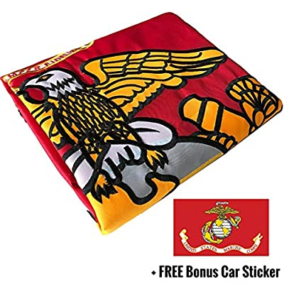 NatFlag US Military Flag 3x5 for Outdoor Made in USA - All-Weather Flags with Magnificent Double-Sided Embroidery - UV Protected - Brass Grommets - Comes with Bonus Car Sticker
