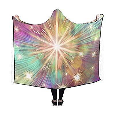 RYUIFI Hooded Blanket Christmas Star Advent Golden Bright Blanket 60x50 Inch Comfotable Hooded Throw Wrap