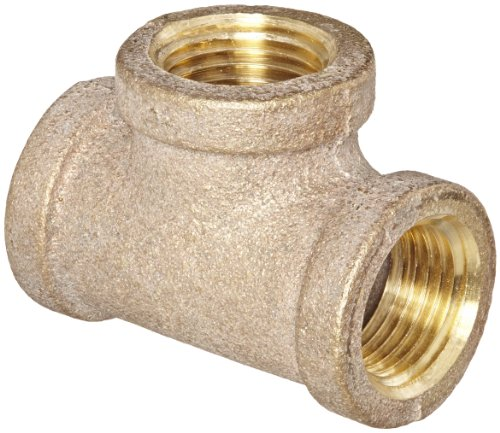 Anderson Metals 38101 Red Brass Pipe Fitting, Tee, 1/2