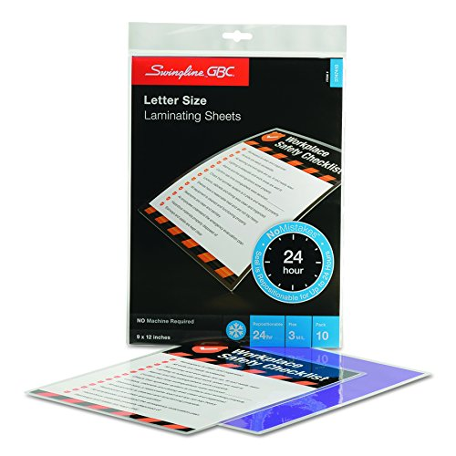 Swingline GBC Laminating Sheets, Self Adhesive Pouches, Repositionable, Letter Size, 3 Mil, SelfSeal NoMistakes, 10 Pack (3747410)